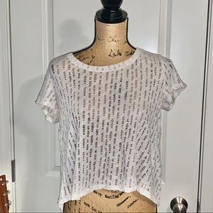Urban Outfitters Cream Distressed Tee Open Back
